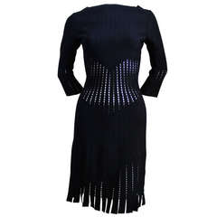Azzedine Alaia back knit dress with cut-outs and fringed hemline