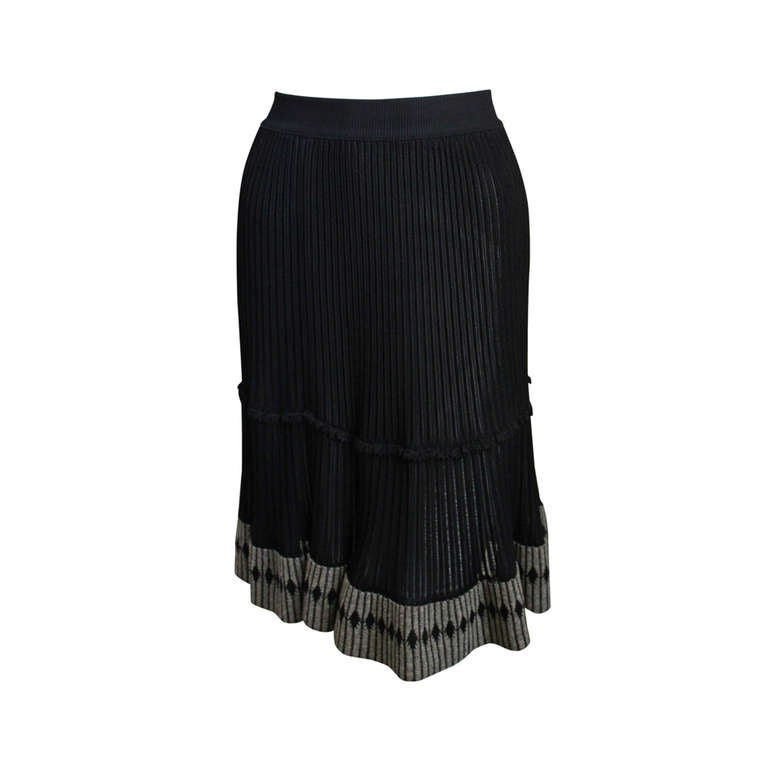 1990's AZZEDINE ALAIA black semi sheer skirt with contrasting trim