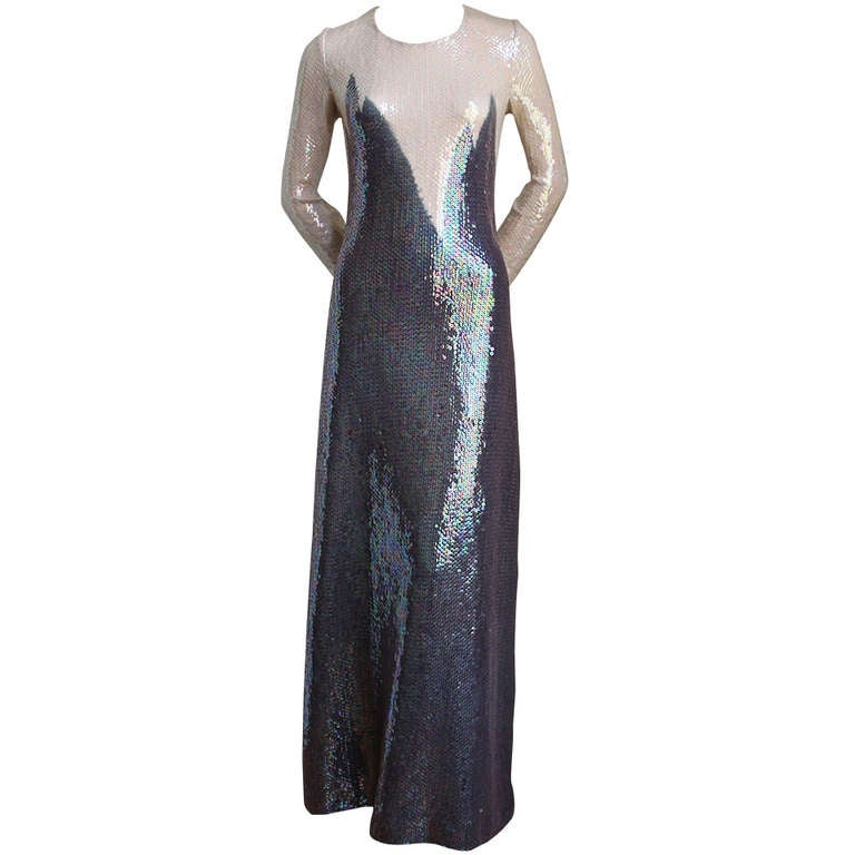 1975 HALSTON full length silk jersey sequined gown with geometric motif 1