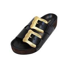 new CELINE by PHOEBE PHILO black leather sandals with gold buckles - 37