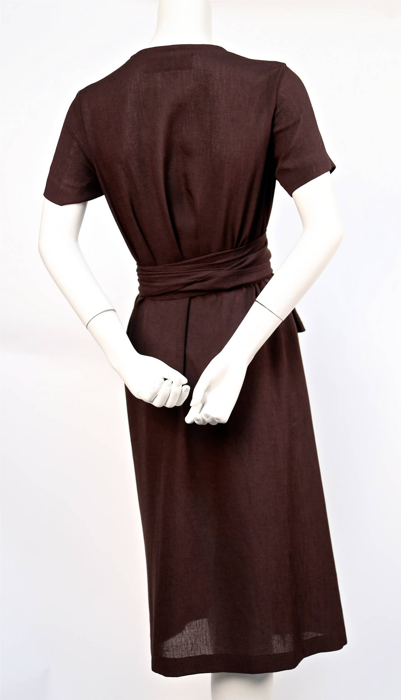 1997 COMME DES GARCONS brown draped dress with wrap waist In Excellent Condition For Sale In San Fransisco, CA