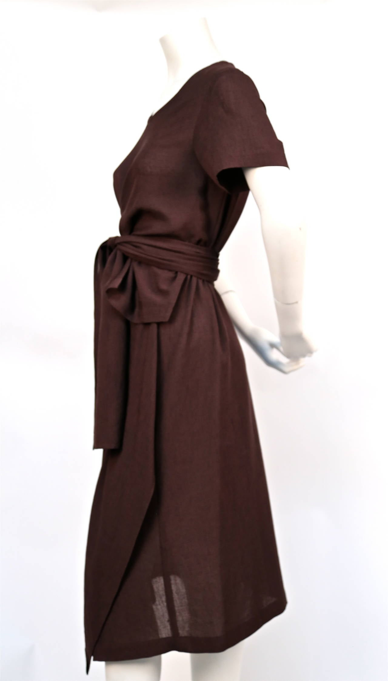 Black 1997 COMME DES GARCONS brown draped dress with wrap waist For Sale