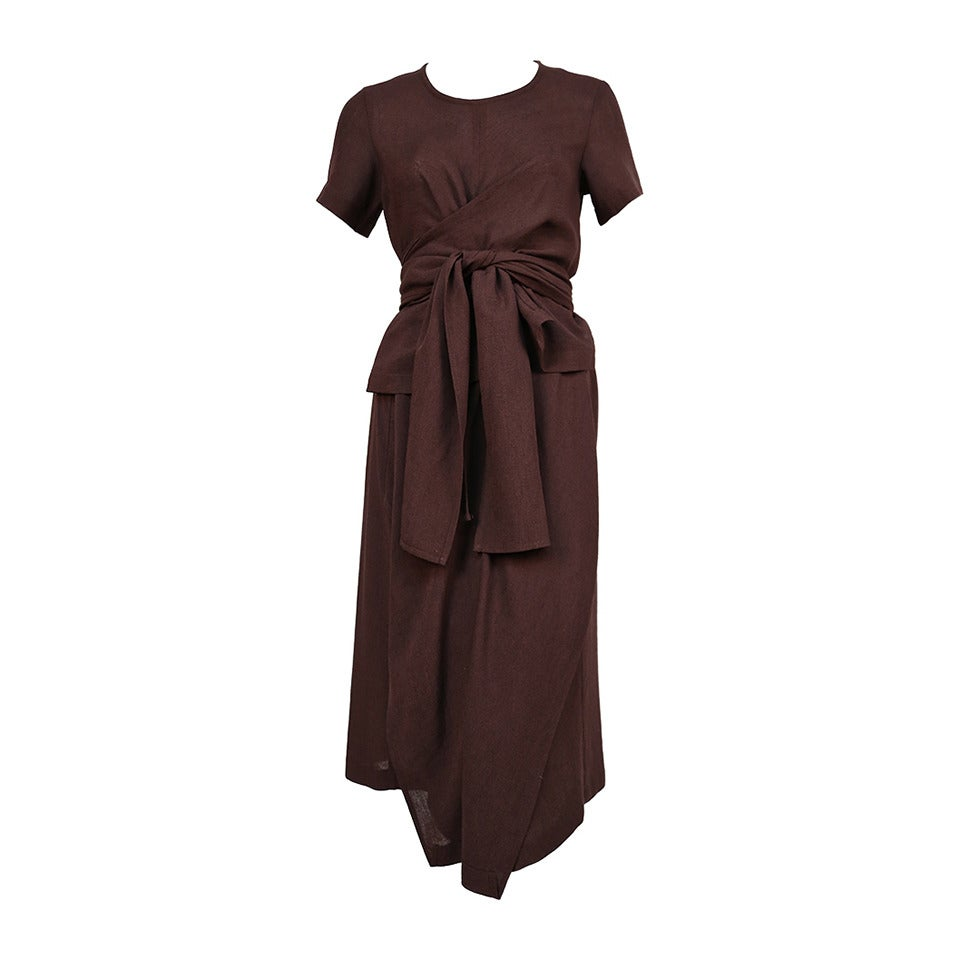 1997 COMME DES GARCONS brown draped dress with wrap waist For Sale