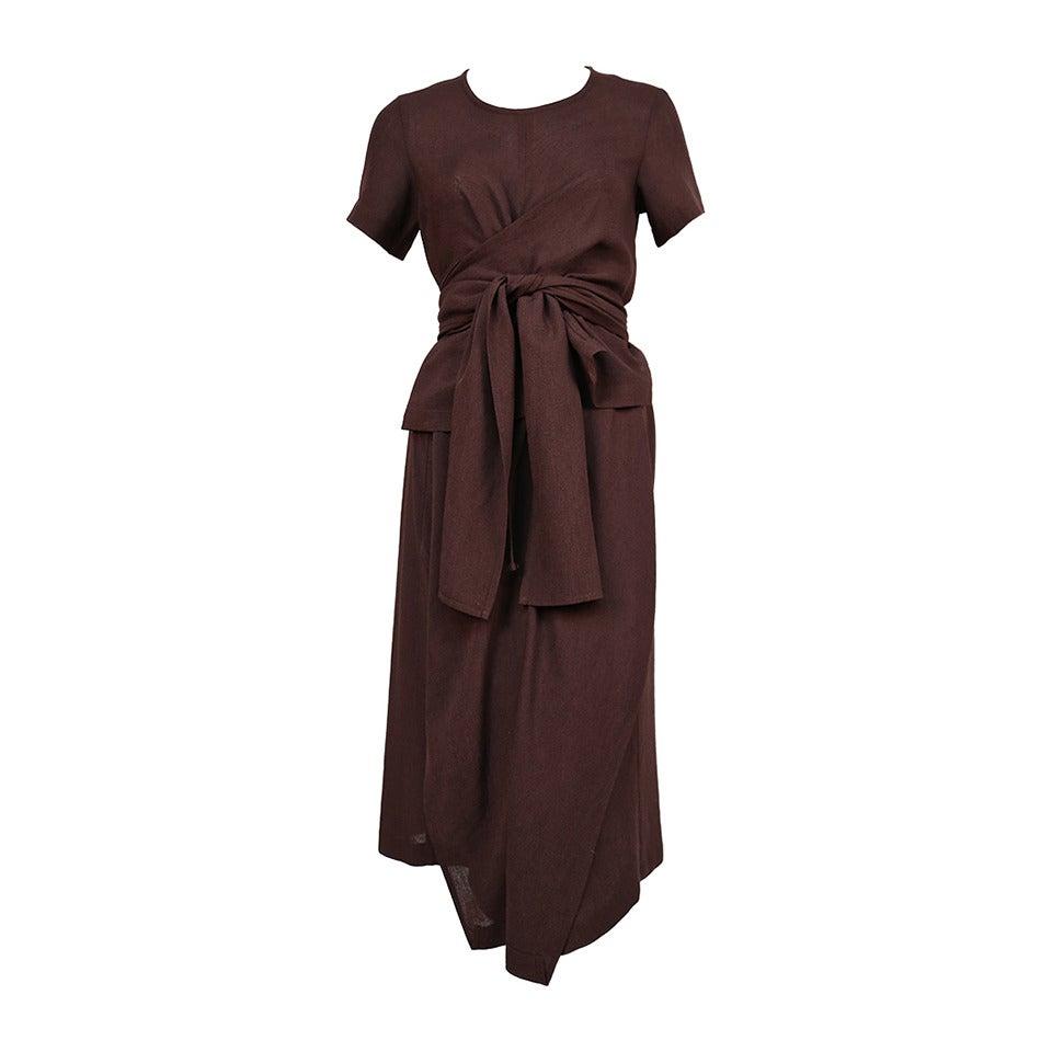 1997 COMME DES GARCONS brown draped dress with wrap waist