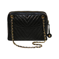1990's Chanel Black Chevron Quilted Lambskin Bag With Gold Hardware
