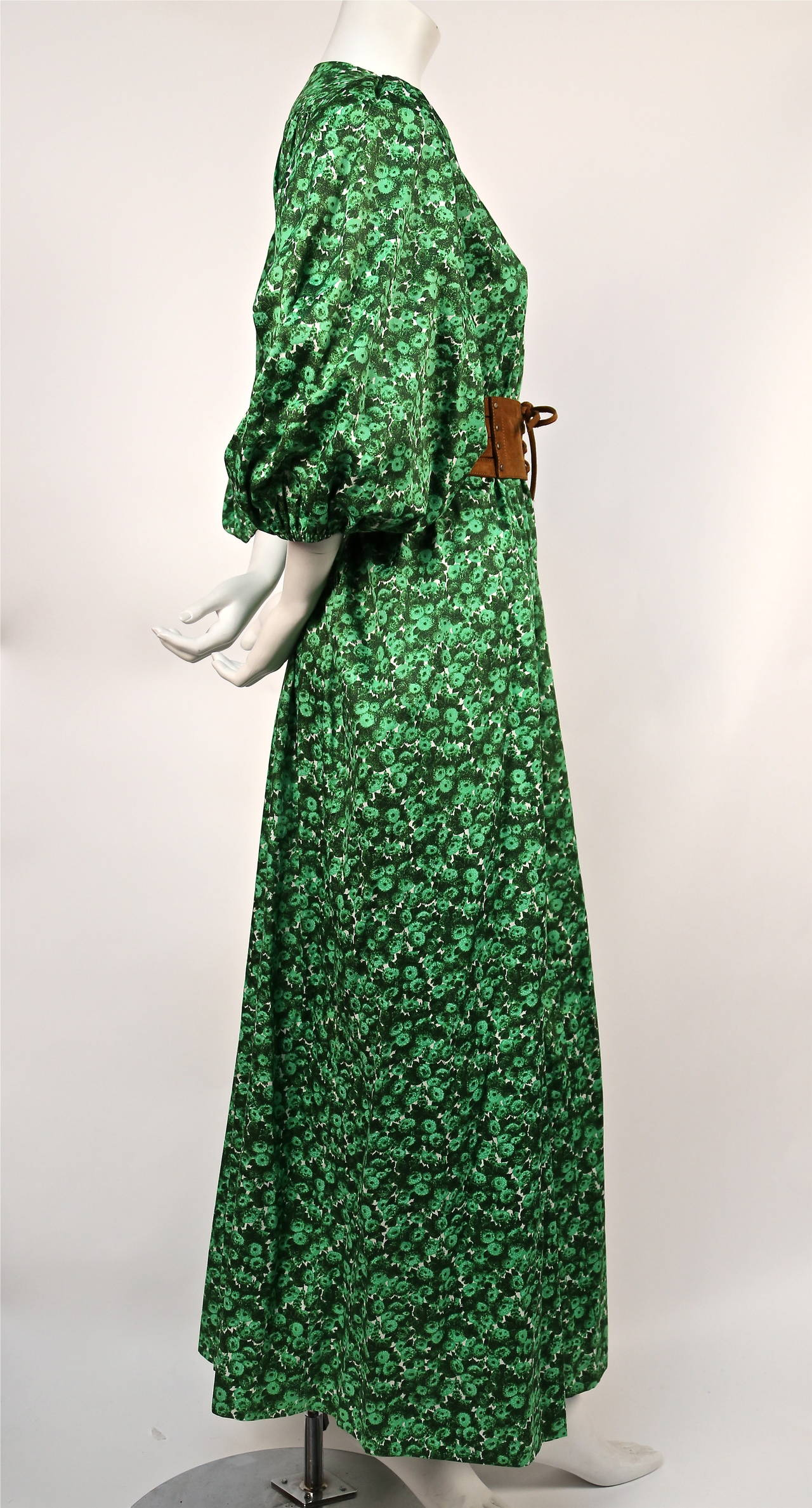 1970's YVES SAINT LAURENT green floral cotton dress with deep V neckline 3