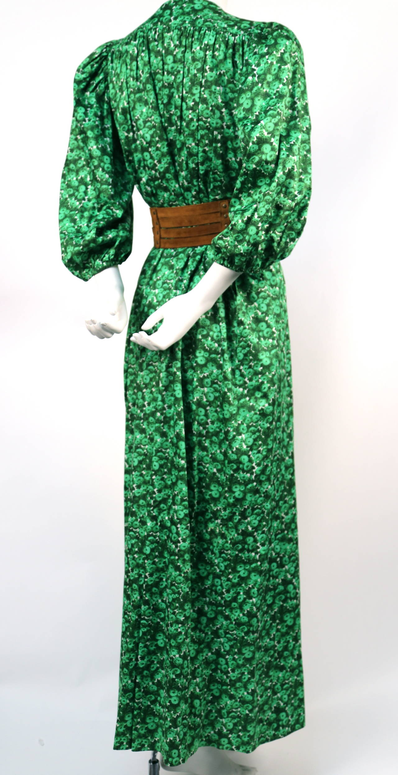 1970's YVES SAINT LAURENT green floral cotton dress with deep V neckline 4