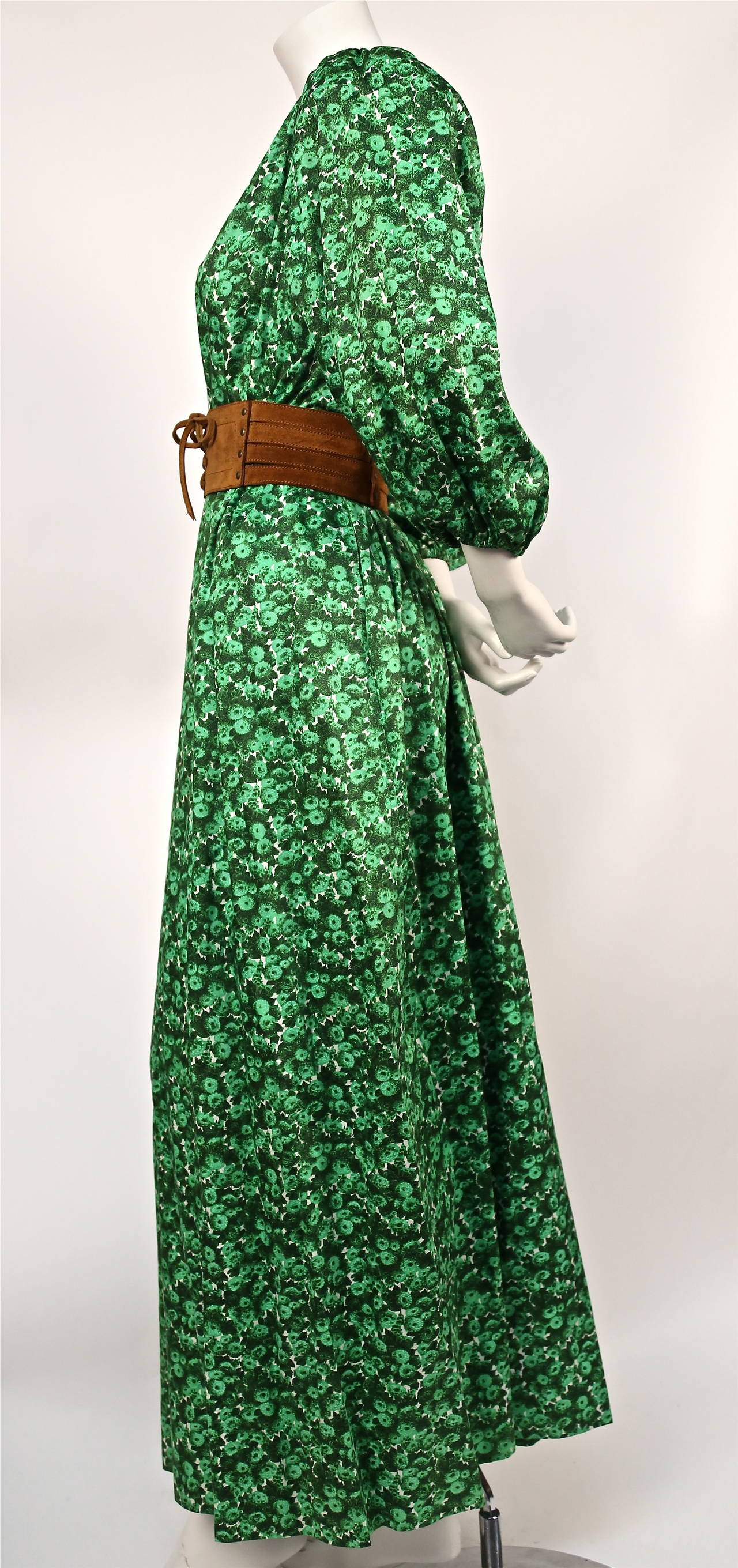 1970's YVES SAINT LAURENT green floral cotton dress with deep V neckline 2