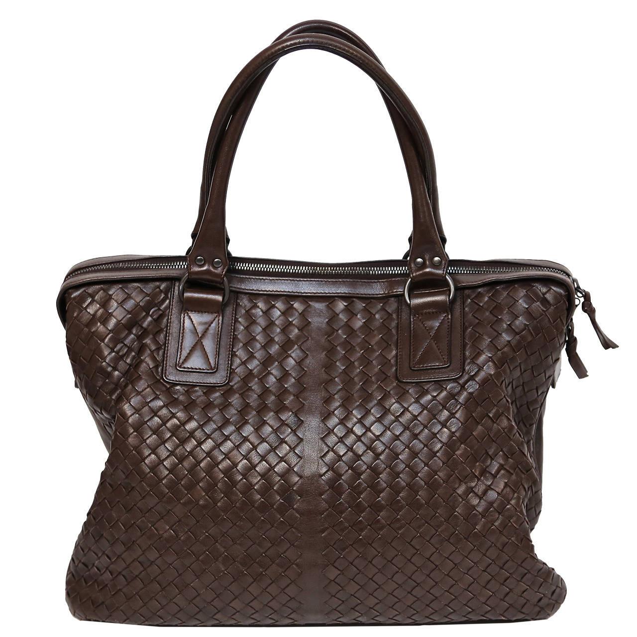 BOTTEGA VENETA oversized brown intrecciato woven leather tote bag 1
