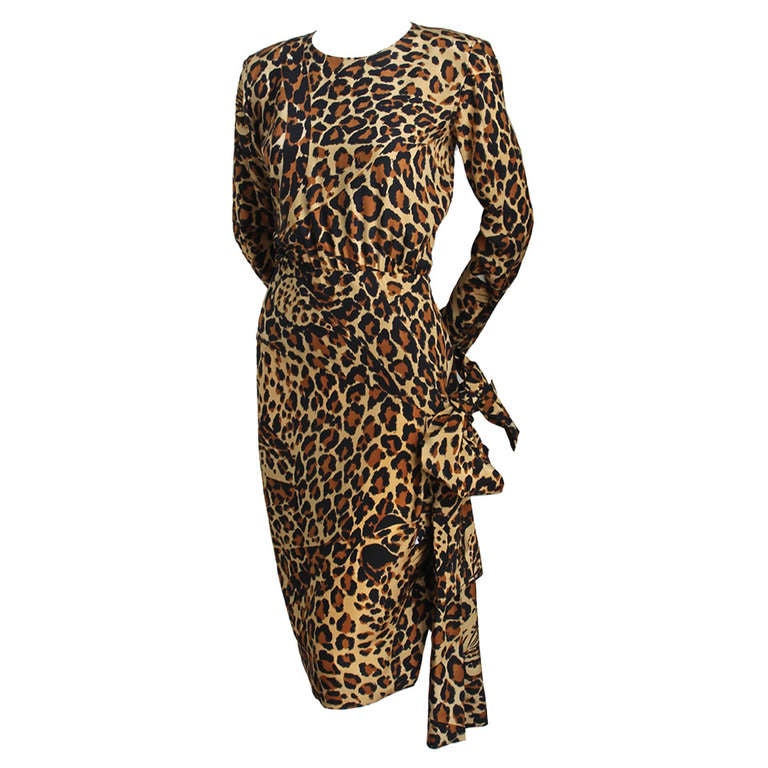 Iconic 1986 YVES SAINT LAURENT leopard printed silk dress For Sale
