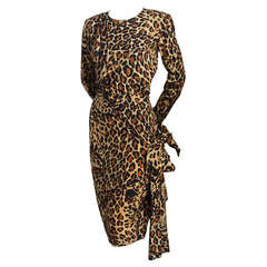 Iconic 1986 YVES SAINT LAURENT leopard printed silk dress