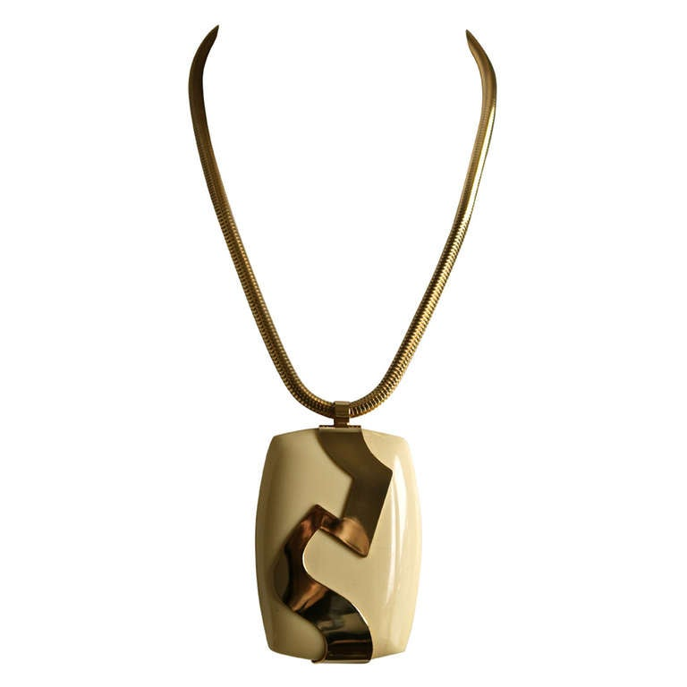 1960's LANVIN oversized cream lucite and gilt necklace 1