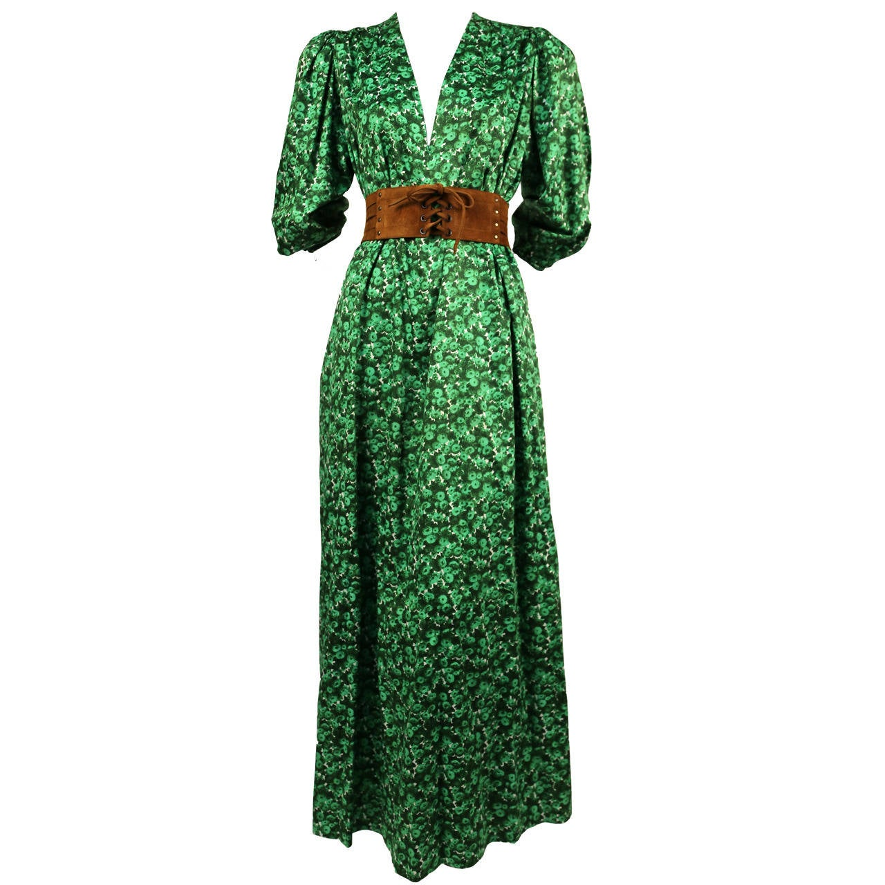 1970's YVES SAINT LAURENT green floral cotton dress with deep V neckline 1