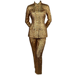 Rare 1996 CHANEL metallic gold suit with colored rhinestones & Gripoix buttons