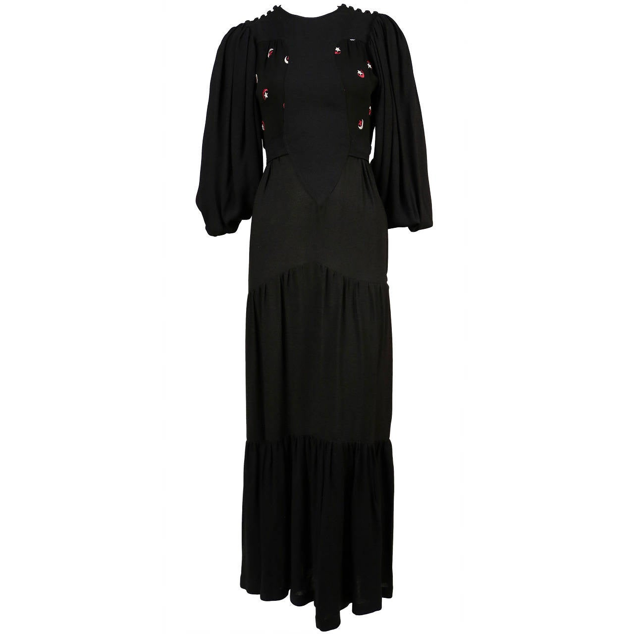 OSSIE CLARK Quorum black moss crepe dress with embroidered moons & stars For Sale