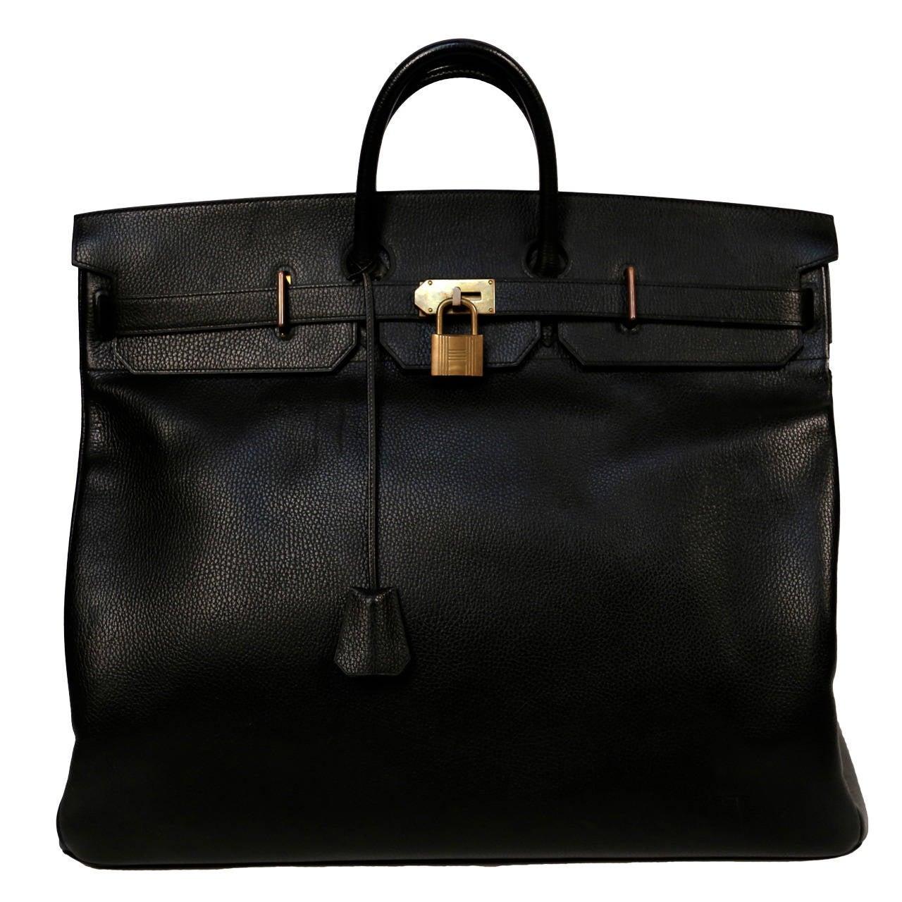 1983 HERMES Haut �� Courroies 50 cm black Clemence leather Birkin ...