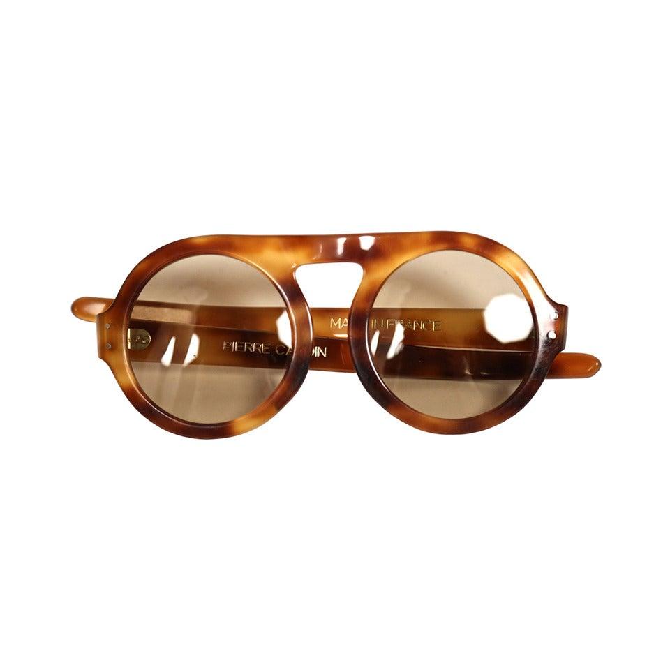 1960's PIERRE CARDIN tortoise plastic sunglasses at 1stdibs