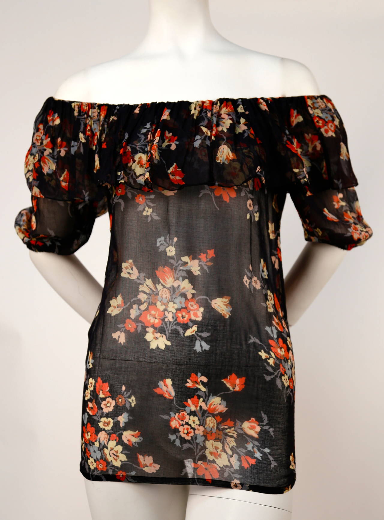 1970's YVES SAINT LAURENT floral gauzy peasant blouse with flounced neckline In Good Condition For Sale In San Francisco, CA