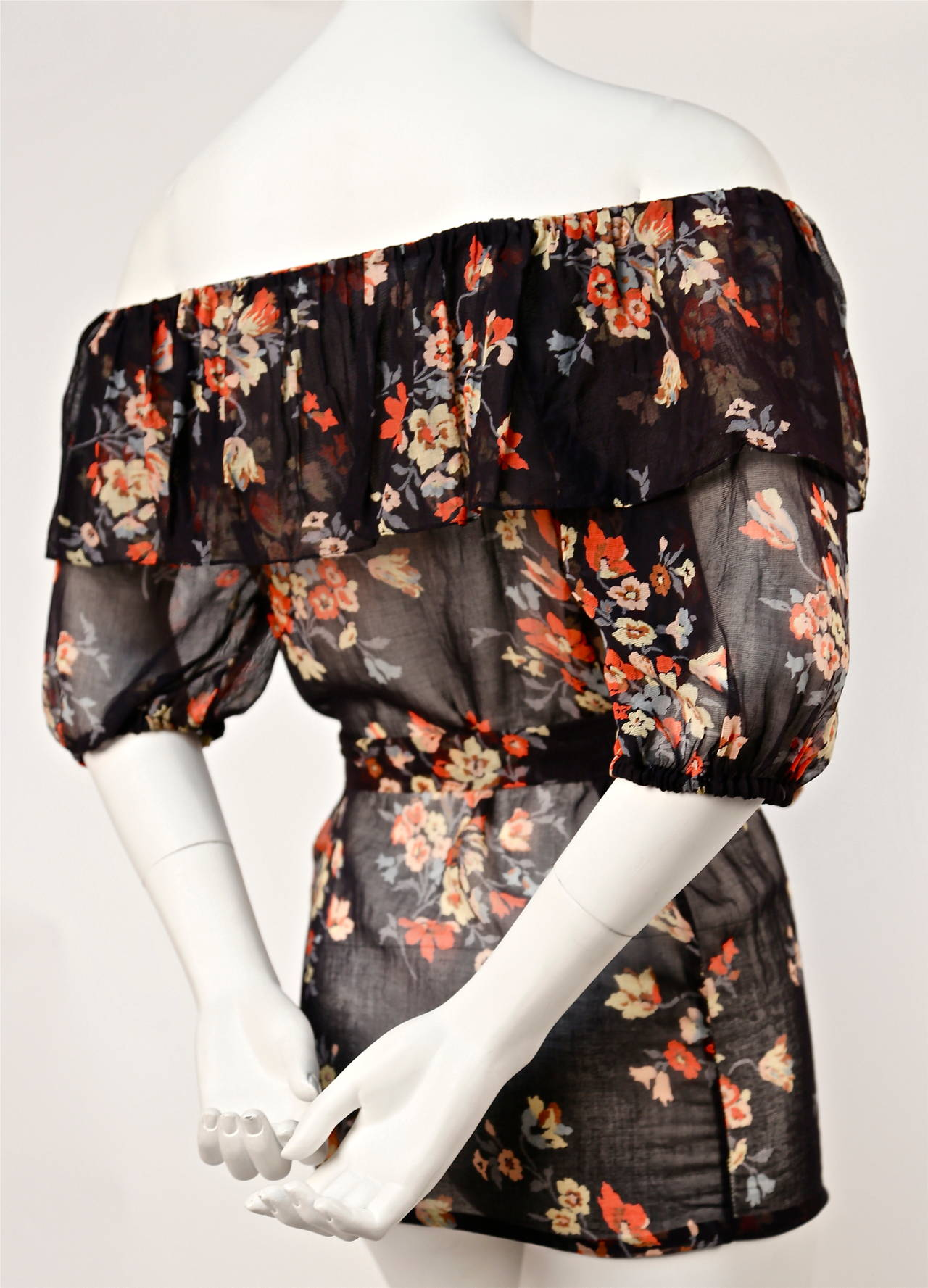 Women's 1970's YVES SAINT LAURENT floral gauzy peasant blouse with flounced neckline For Sale