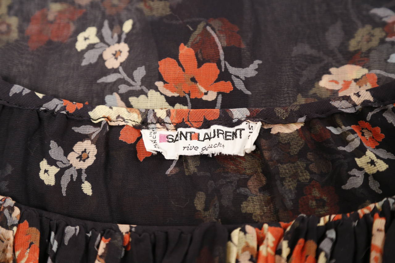 1970's YVES SAINT LAURENT floral gauzy peasant blouse with flounced neckline For Sale 1