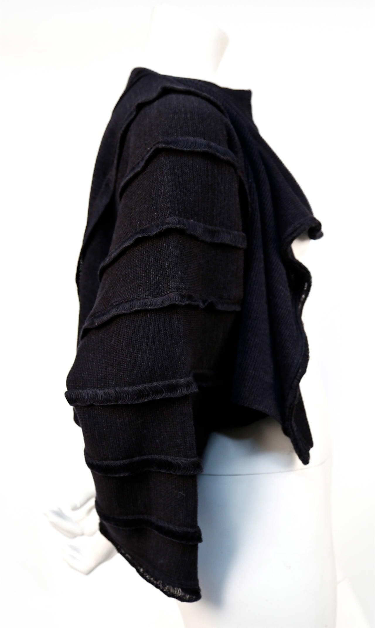 1980's ISSEY MIYAKE charcoal draped sweater 3