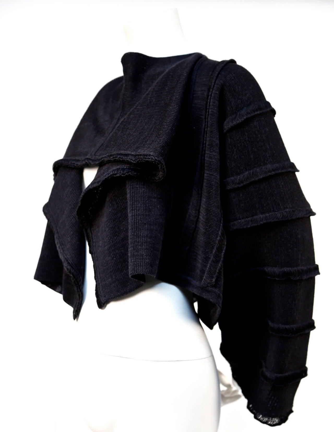 1980's ISSEY MIYAKE charcoal draped sweater 2