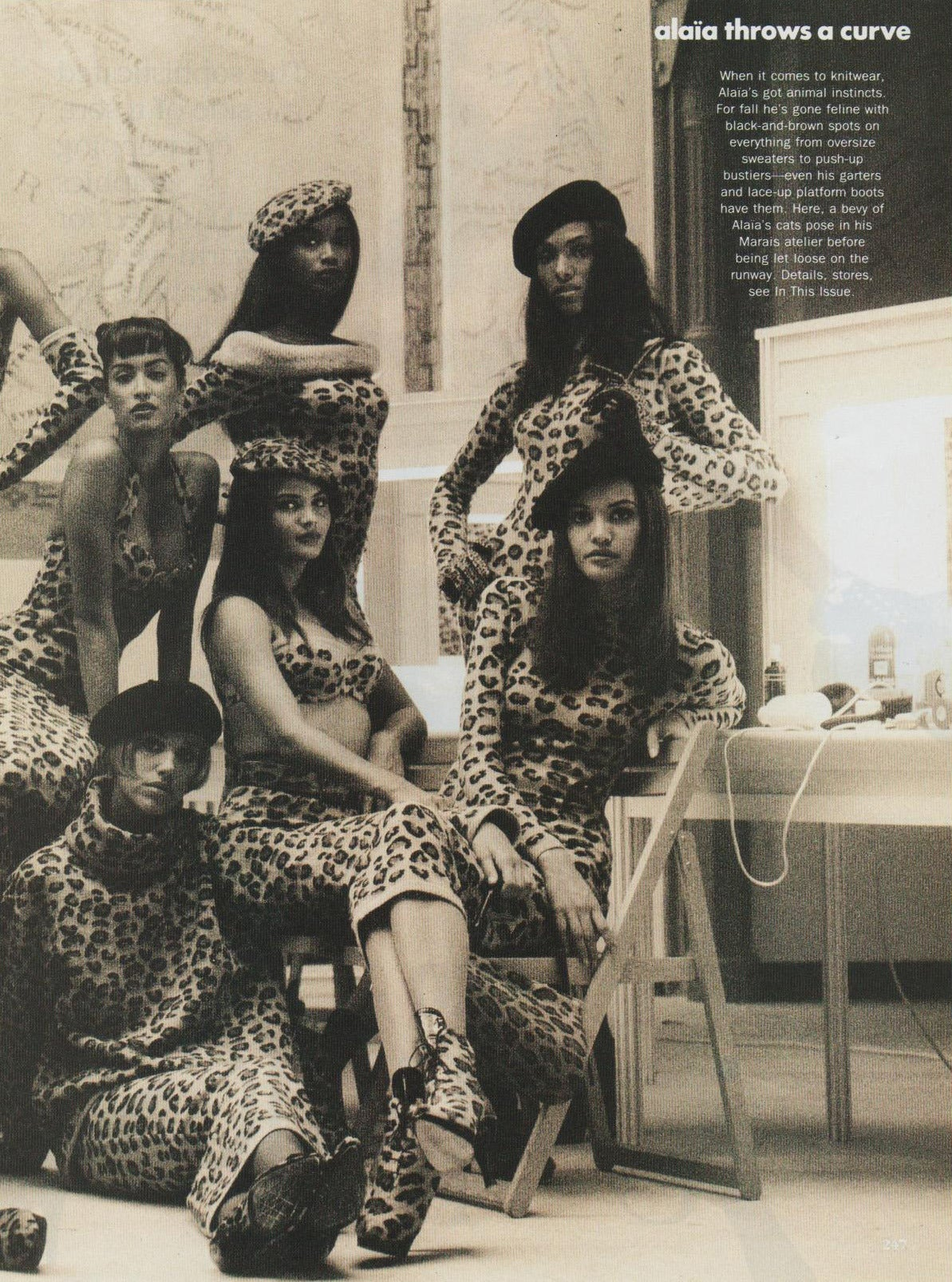 1991 AZZEDINE ALAIA oversized leopard V-neck dress 6