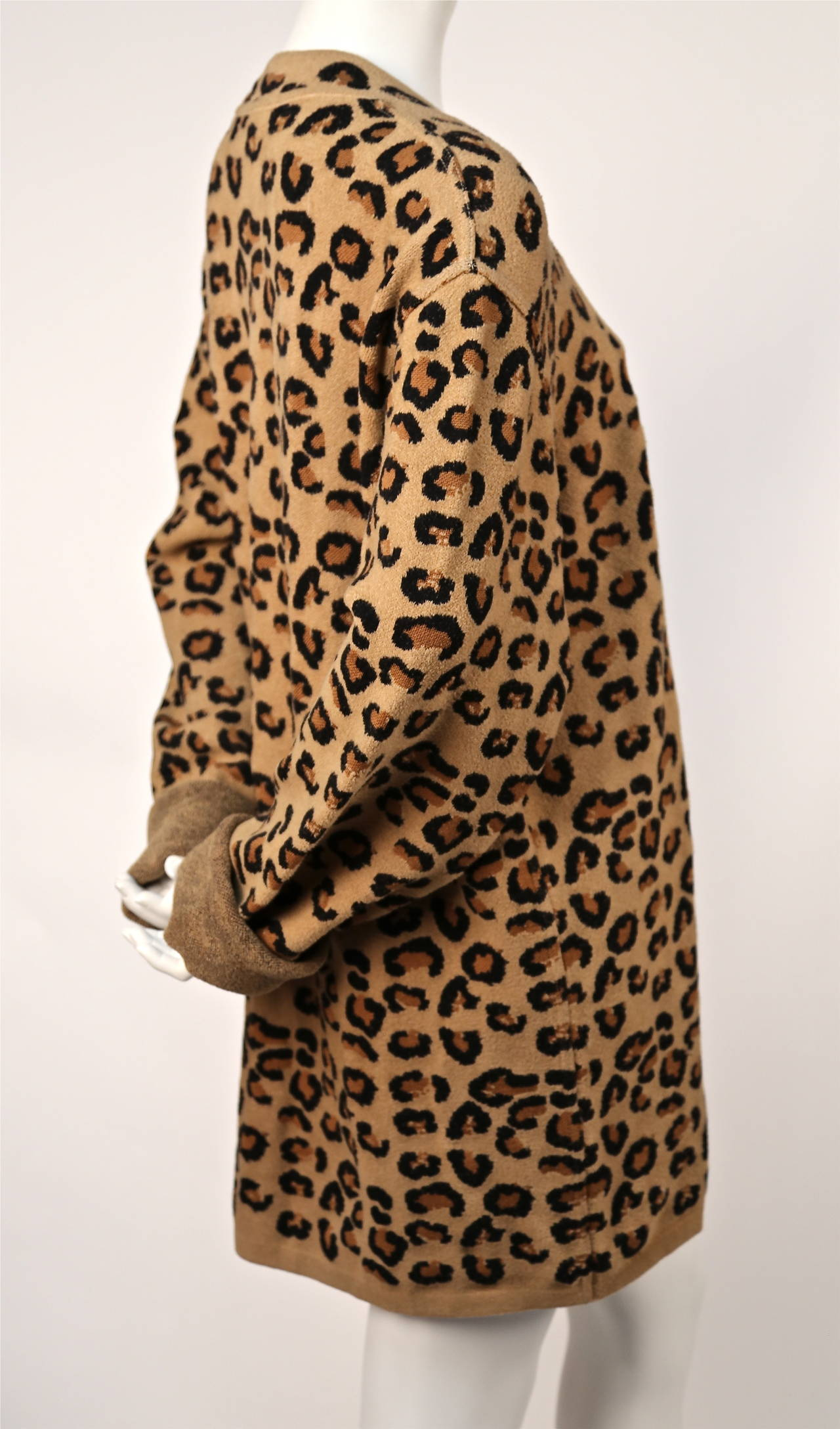 1991 AZZEDINE ALAIA oversized leopard V-neck dress 3