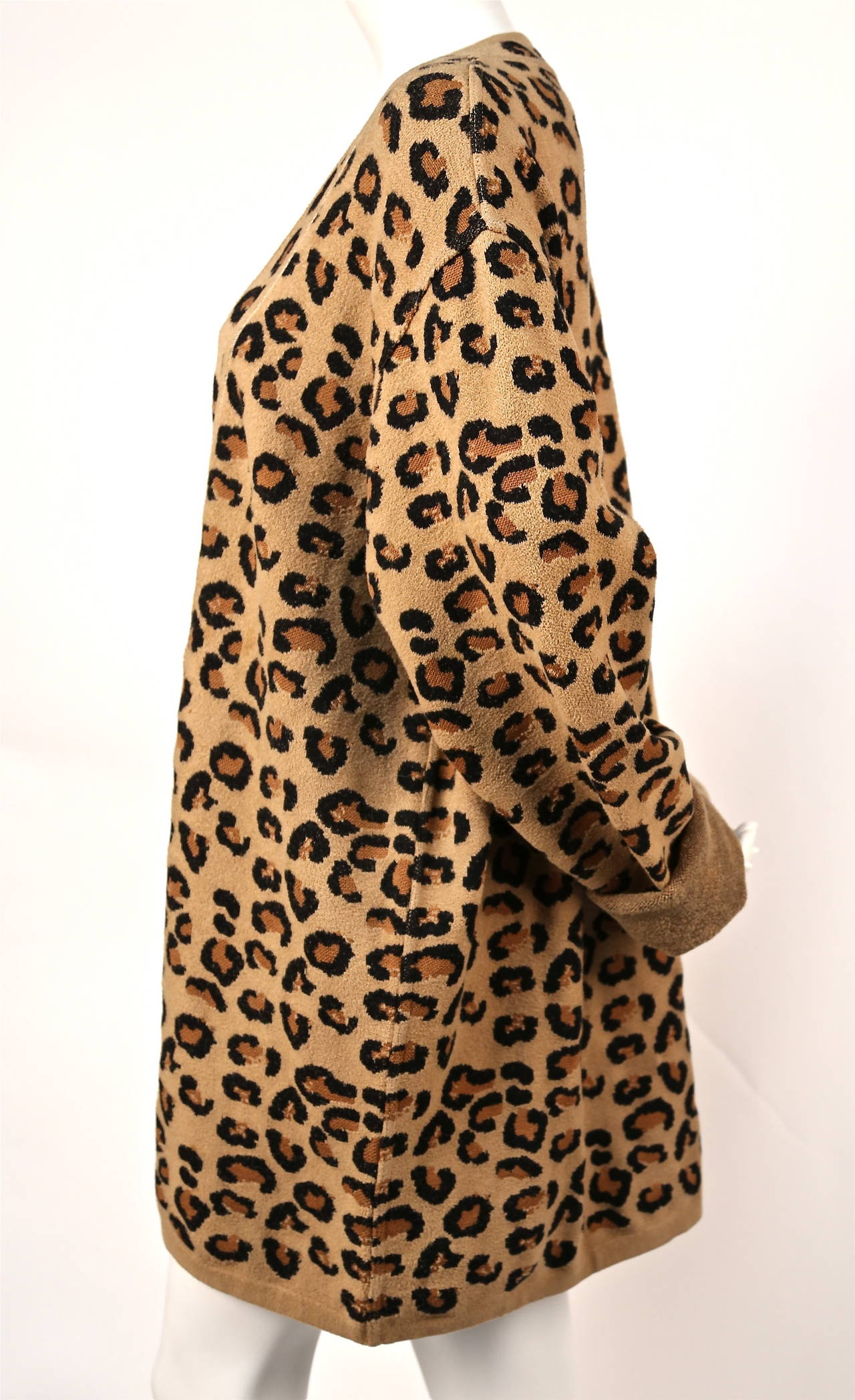 1991 AZZEDINE ALAIA oversized leopard V-neck dress 2