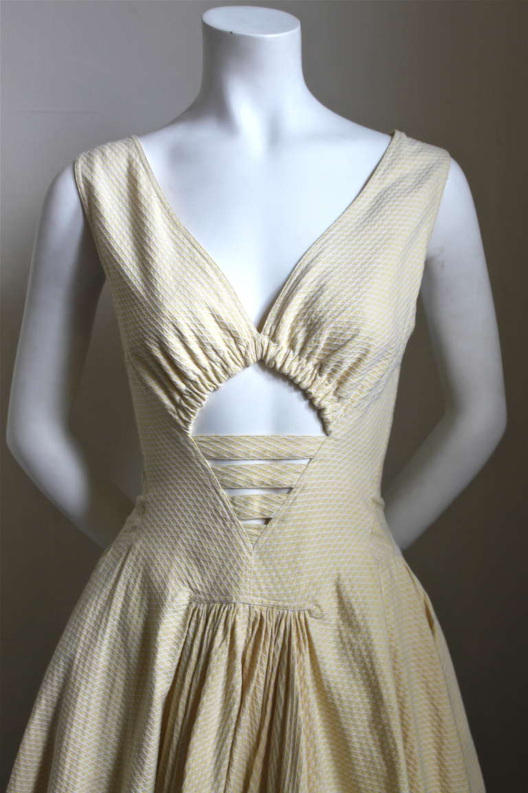 1980 S Azzedine Alaia Cotton Pique Dress With Cut Out At