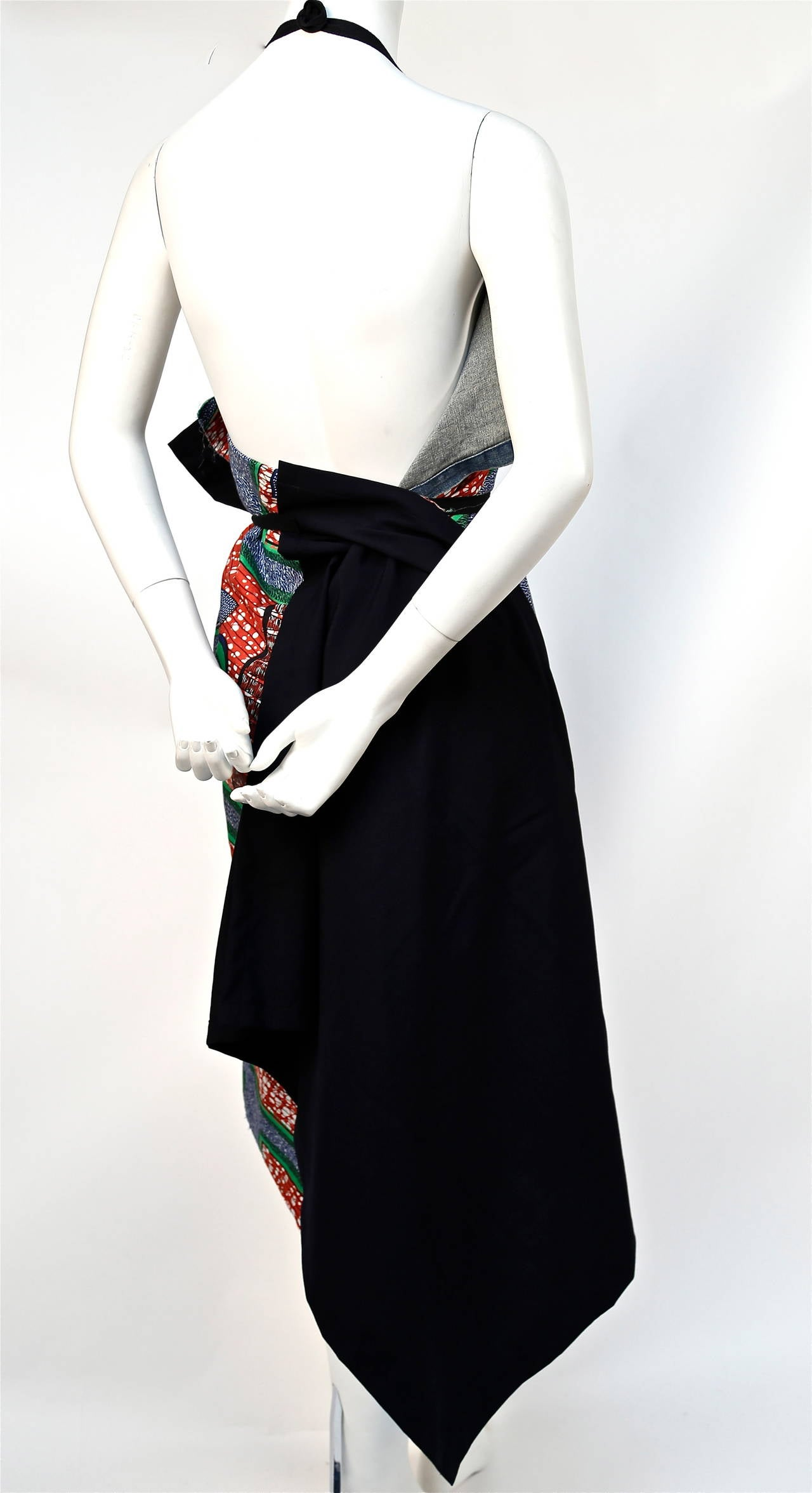 JUNYA WATANABE African printed cotton and denim wrap apron dress 5