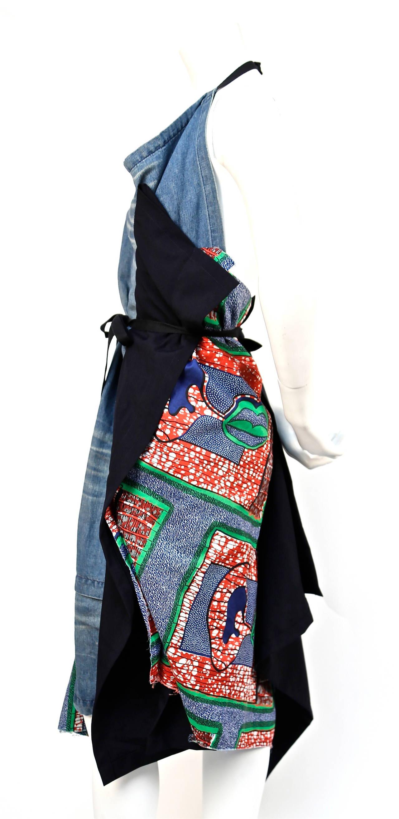 JUNYA WATANABE African printed cotton and denim wrap apron dress 3