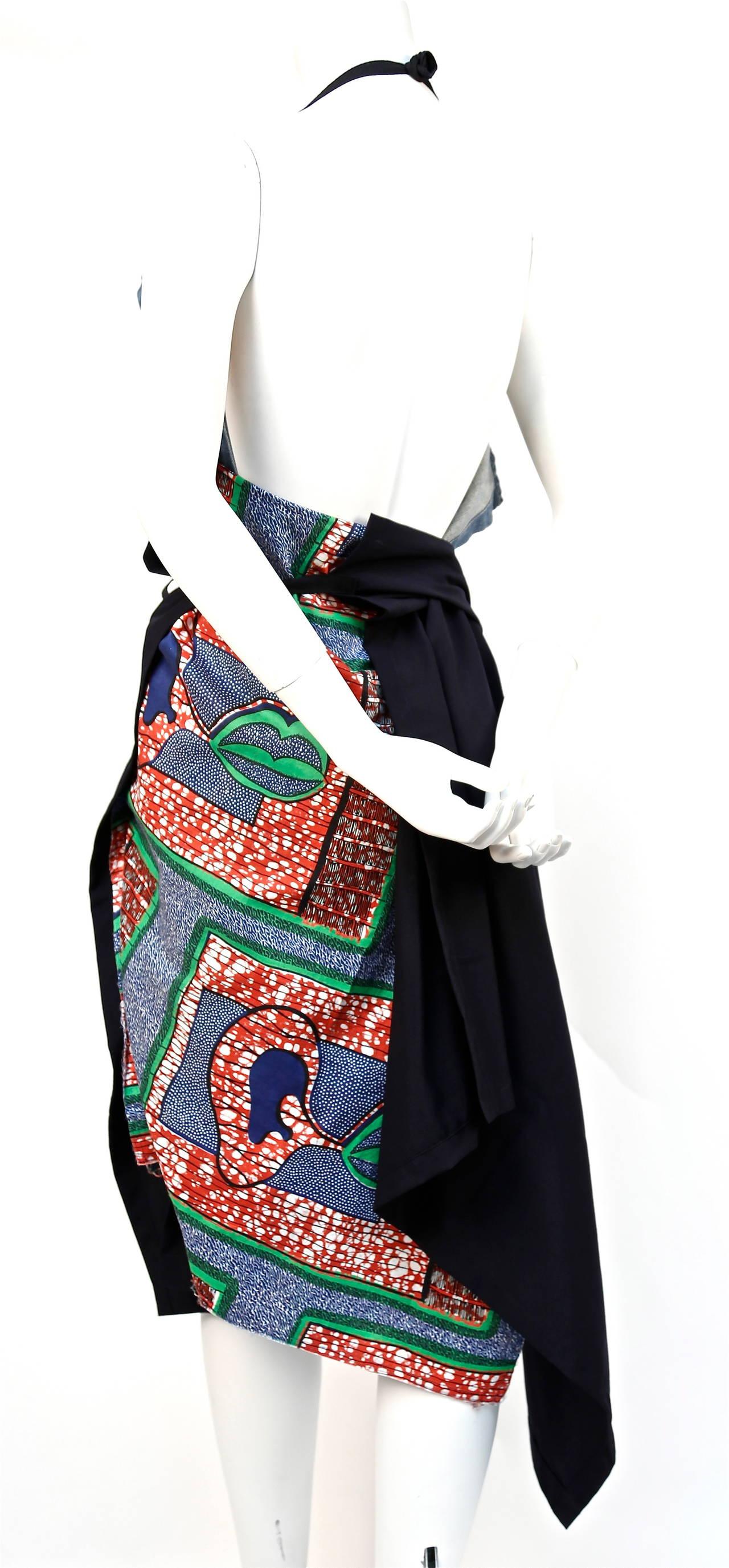 JUNYA WATANABE African printed cotton and denim wrap apron dress 4