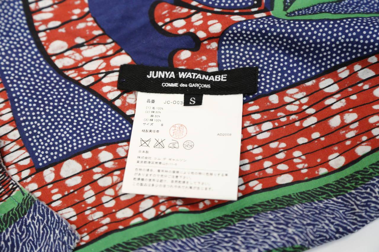 JUNYA WATANABE African printed cotton and denim wrap apron dress 6