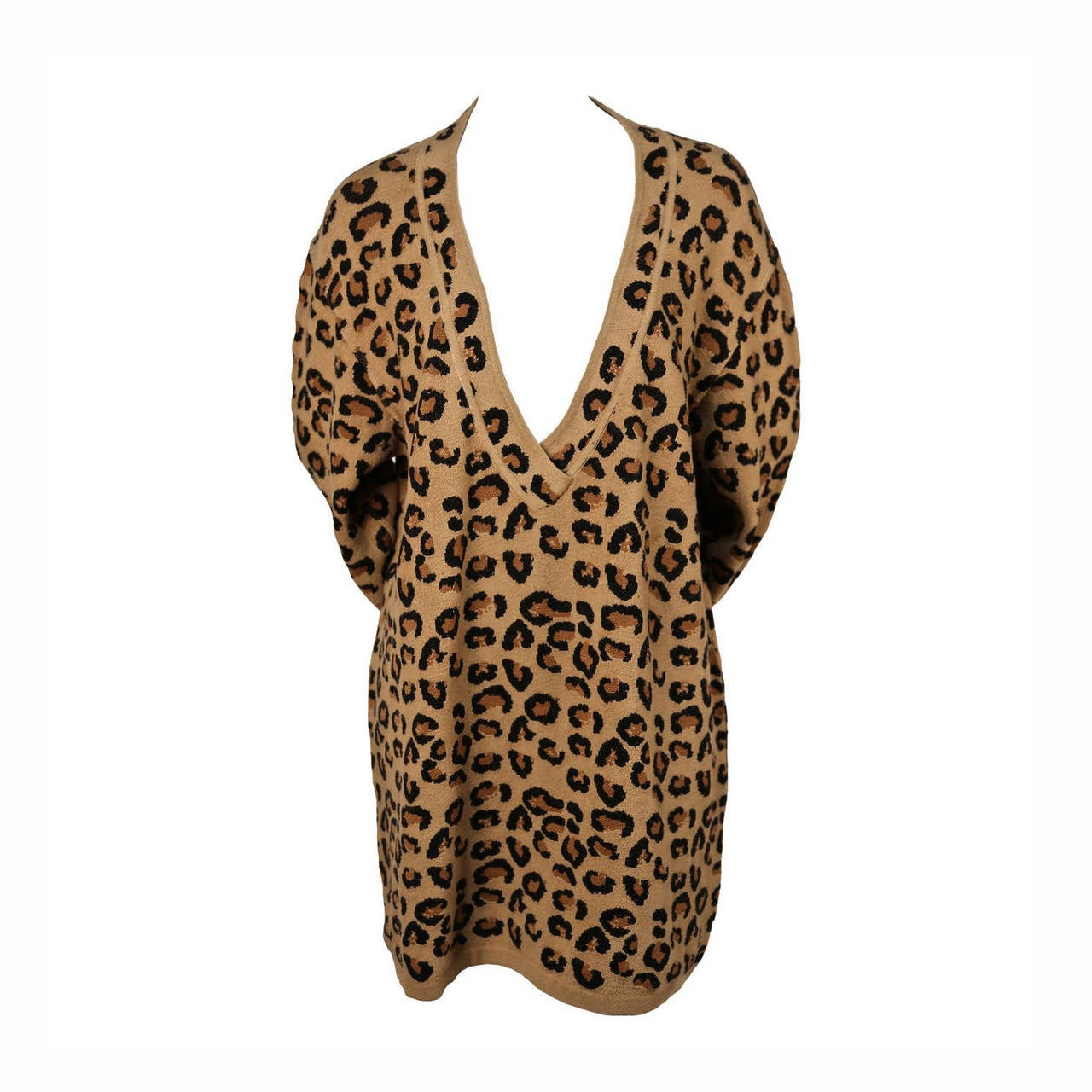1991 AZZEDINE ALAIA oversized leopard V-neck dress 1