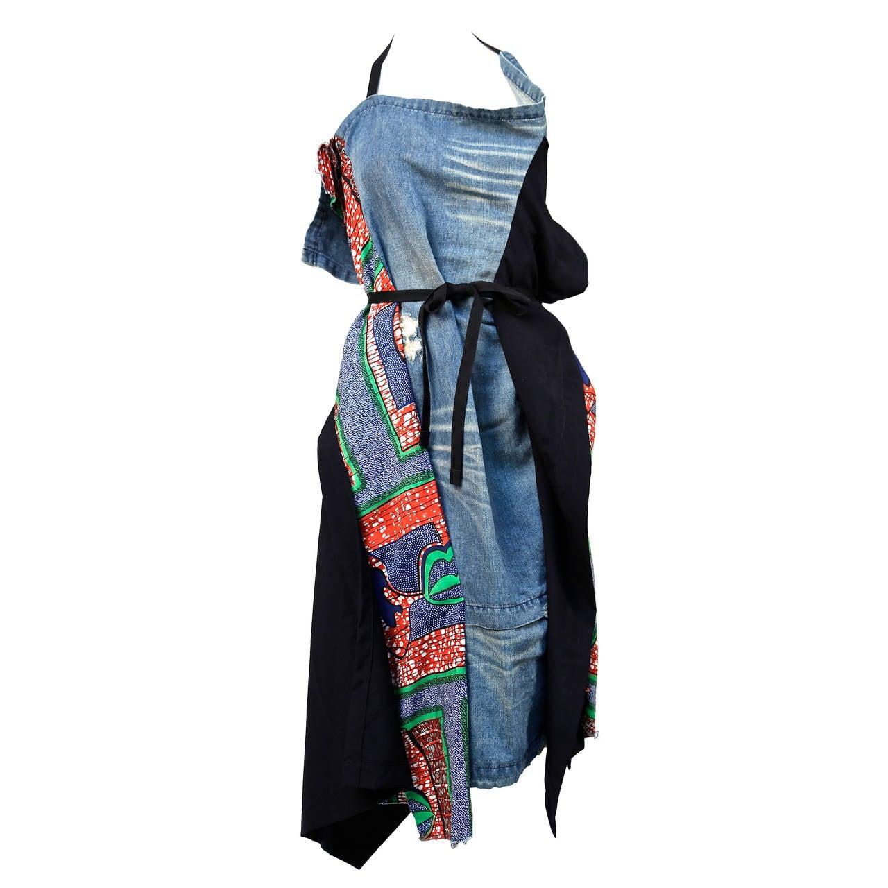 JUNYA WATANABE African printed cotton and denim wrap apron dress 1
