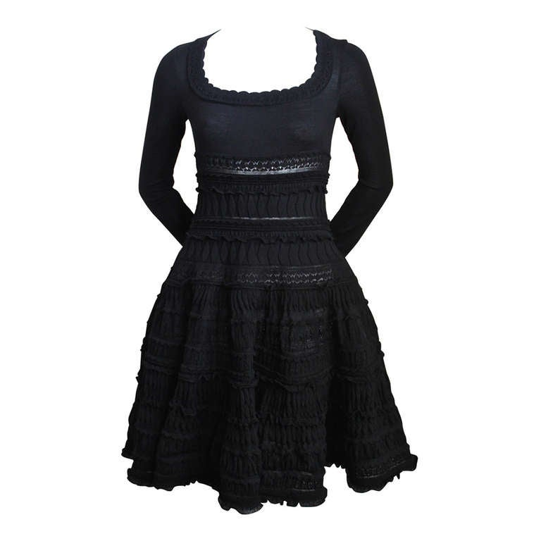 AZZEDINE ALAIA jet black lightweight wool knit dress with lace panels For Sale