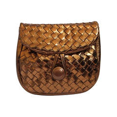 1980's HARRODS bronze woven leather clutch with convertible long strap
