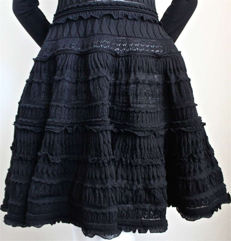 AZZEDINE ALAIA jet black lightweight wool knit dress with lace panels In Excellent Condition For Sale In San Fransisco, CA
