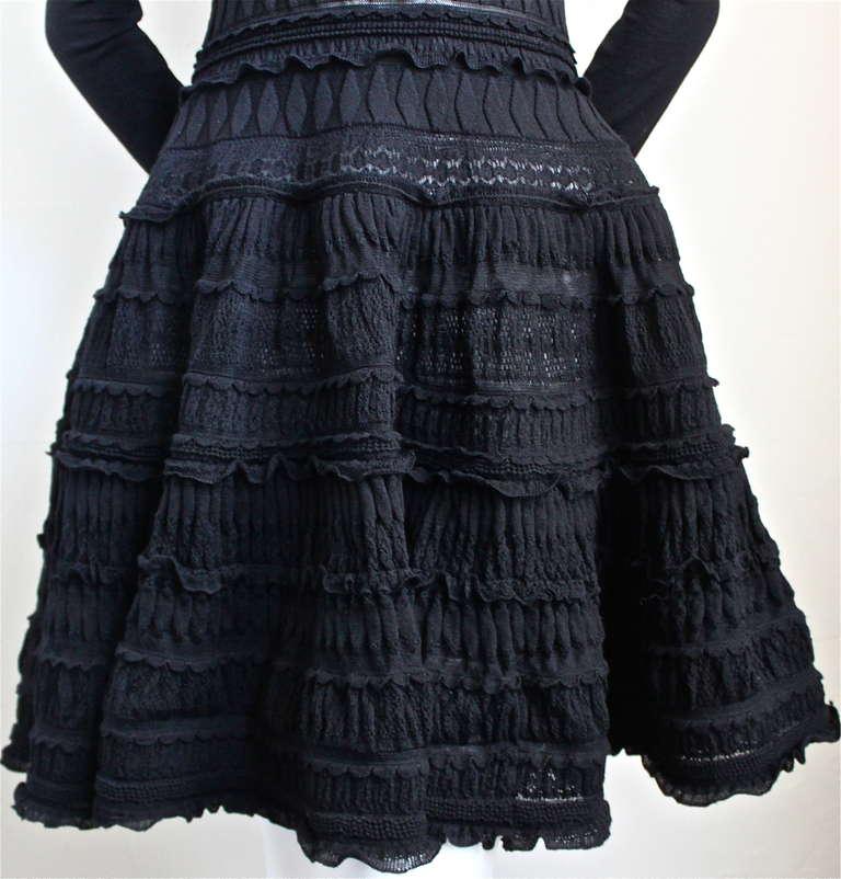 AZZEDINE ALAIA jet black lightweight wool knit dress with lace panels 4