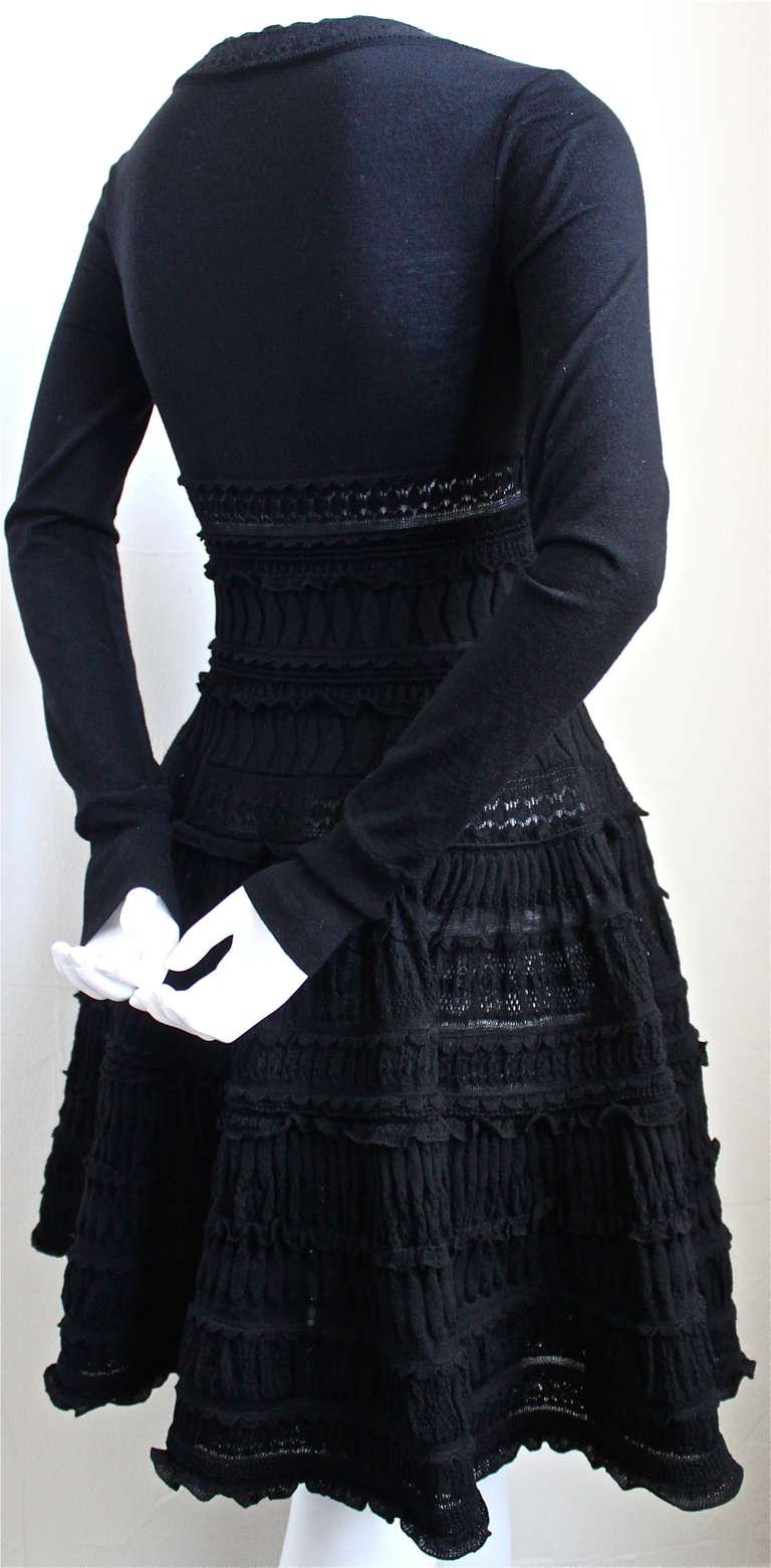 AZZEDINE ALAIA jet black lightweight wool knit dress with lace panels 2