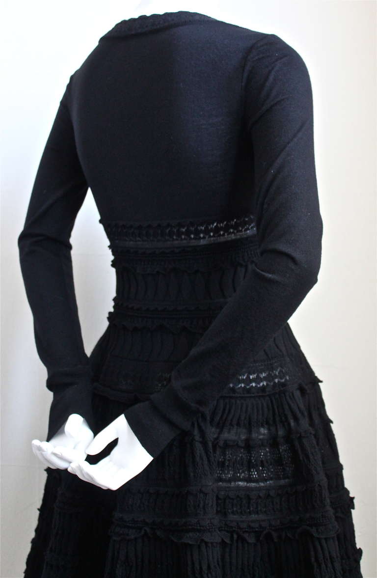 Black AZZEDINE ALAIA jet black lightweight wool knit dress with lace panels For Sale
