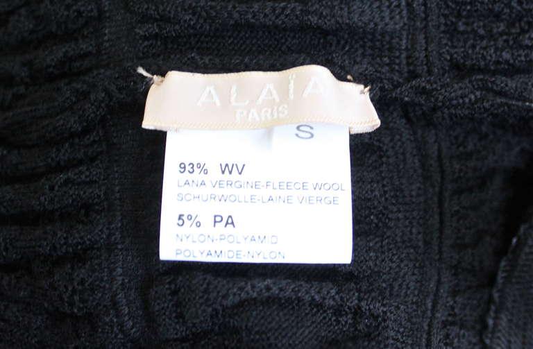 AZZEDINE ALAIA jet black lightweight wool knit dress with lace panels 5