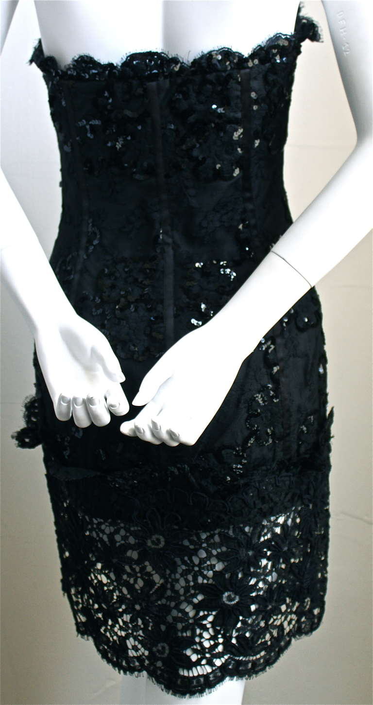 1992 YVES SAINT LAURENT lace mini dress with sequins and sheer bottom panel 3