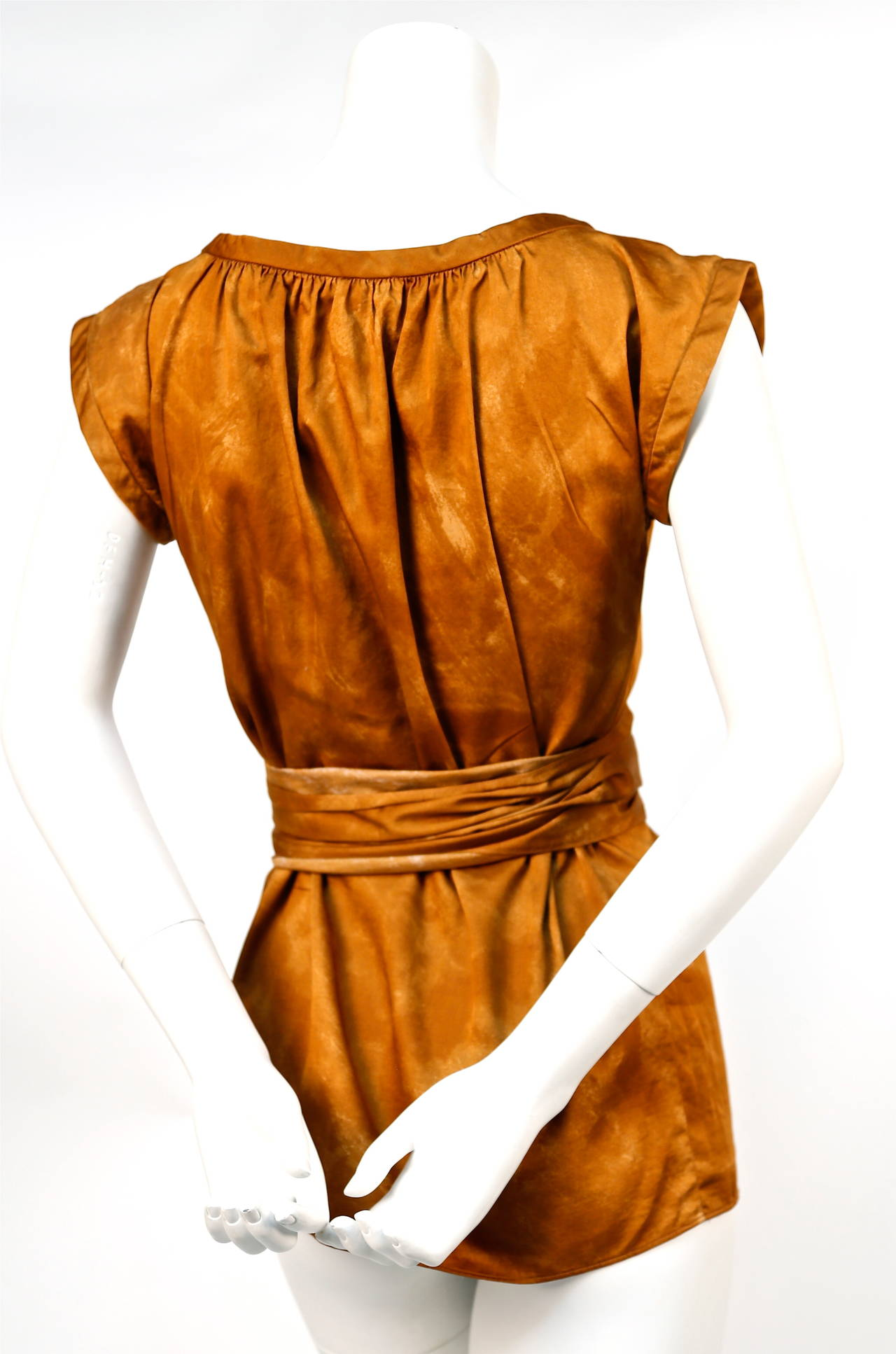 1970's YVES SAINT LAURENT rust cotton blouse with long tie 4