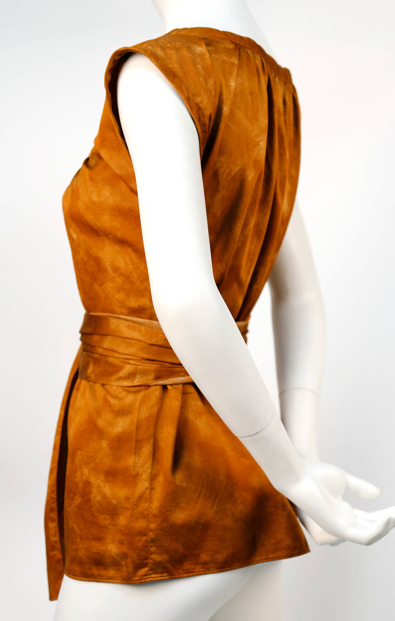 1970's YVES SAINT LAURENT rust cotton blouse with long tie 2