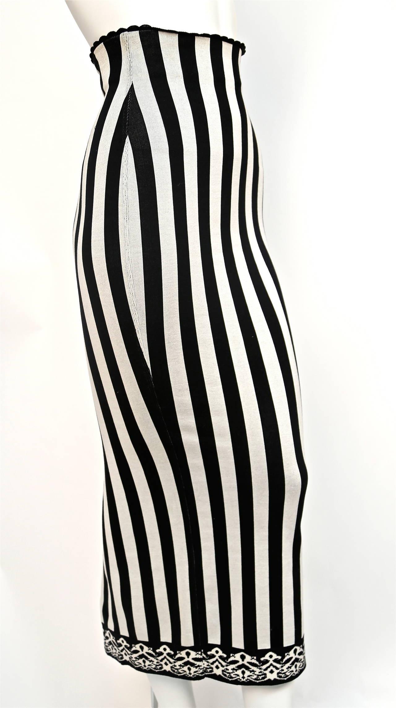 1992 AZZEDINE ALAIA black and white striped skirt 3