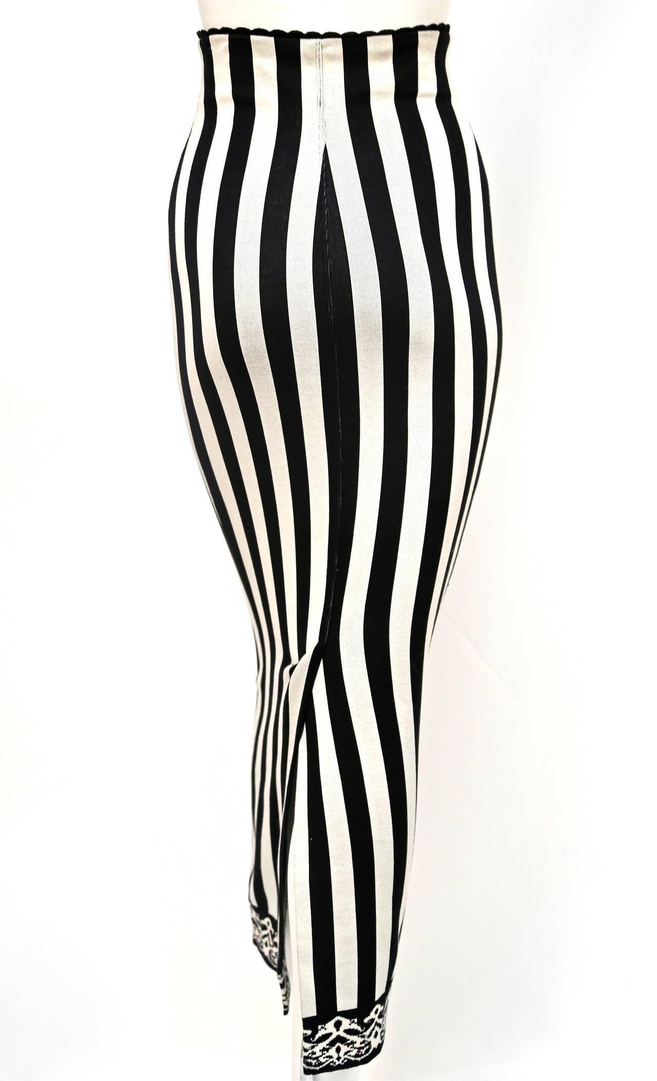 1992 AZZEDINE ALAIA black and white striped skirt 4