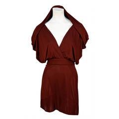 very rare AZZEDINE ALAIA burgundy jersey backless dress with hood - 1990