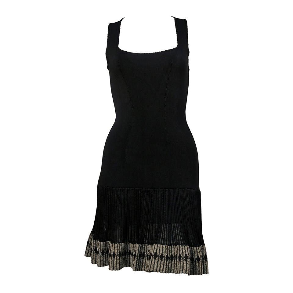 1990's AZZEDINE ALAIA black sleeveless dress with ruffled hemline
